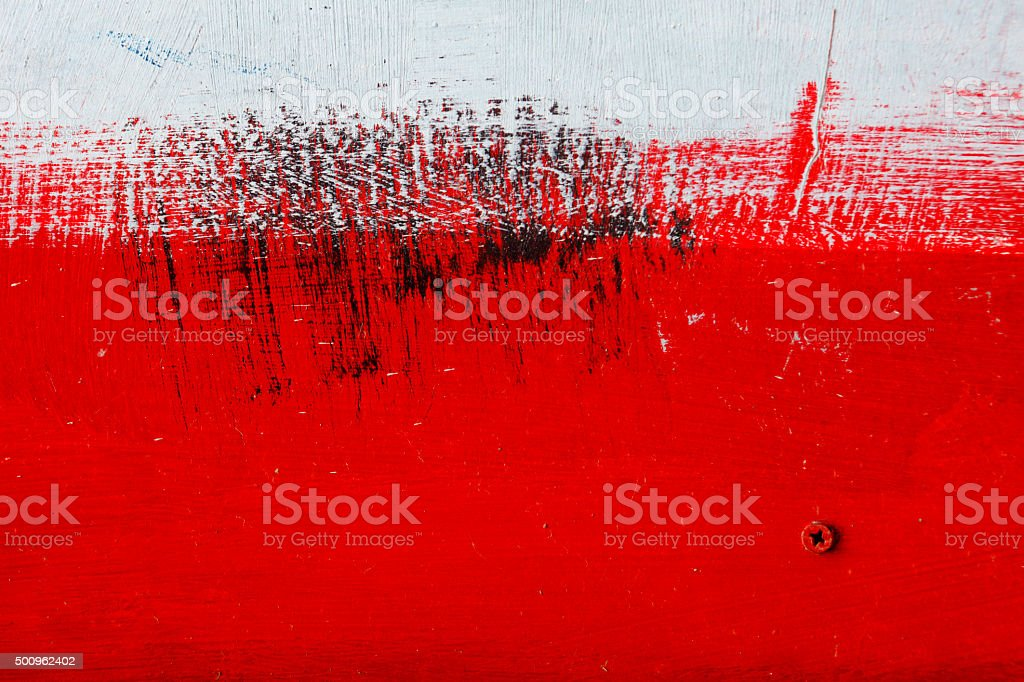 Brushstroke - black,  white, red acrylic paint  on  metal sur stock photo