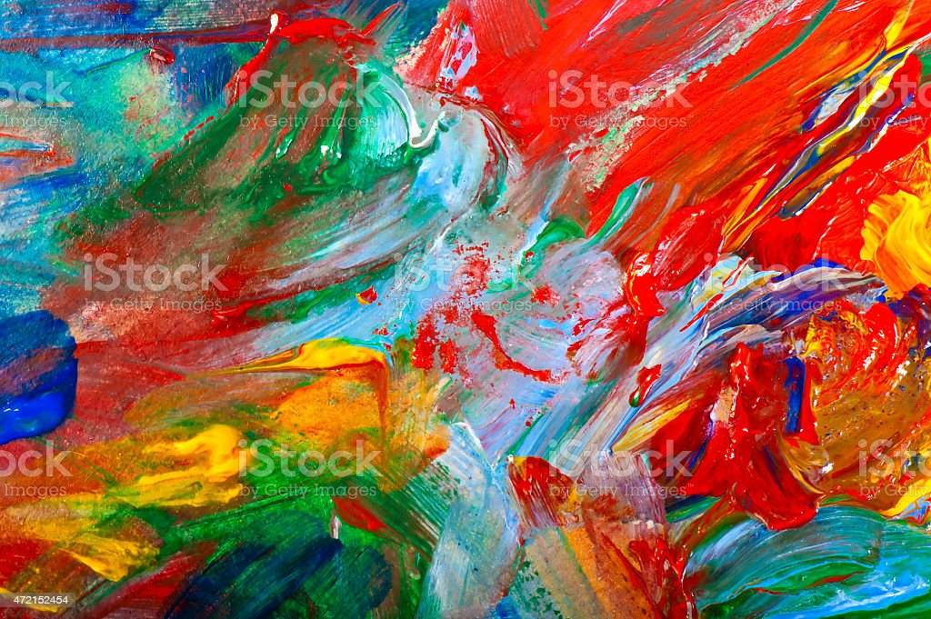 brushstrokes with acrylic paints on canvas closeup stock photo