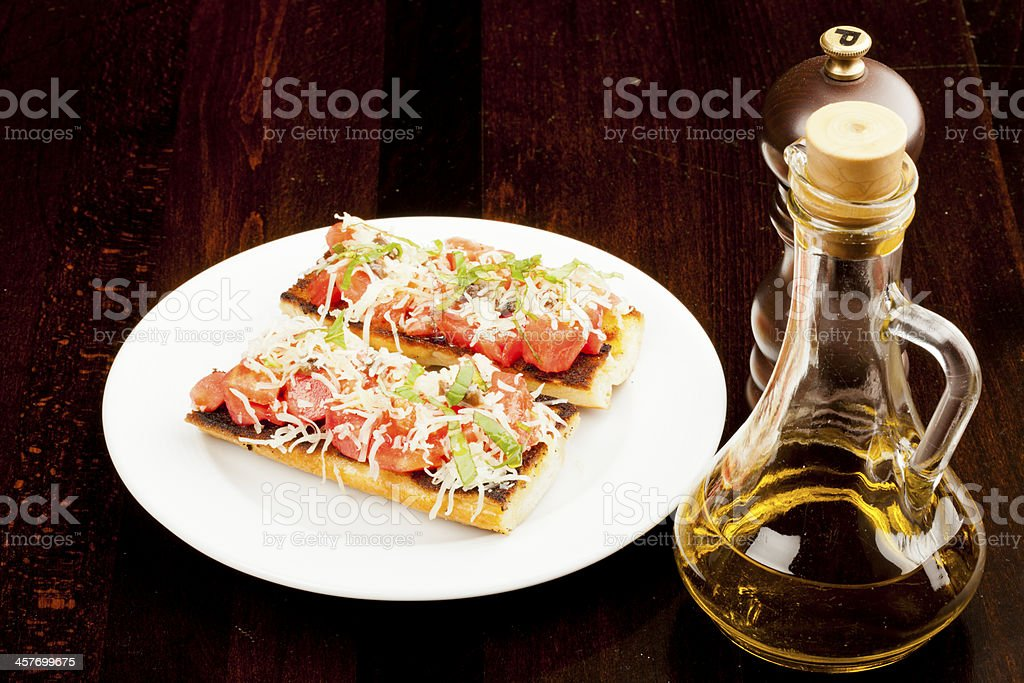 Brusketti and Oil + Peper royalty-free stock photo