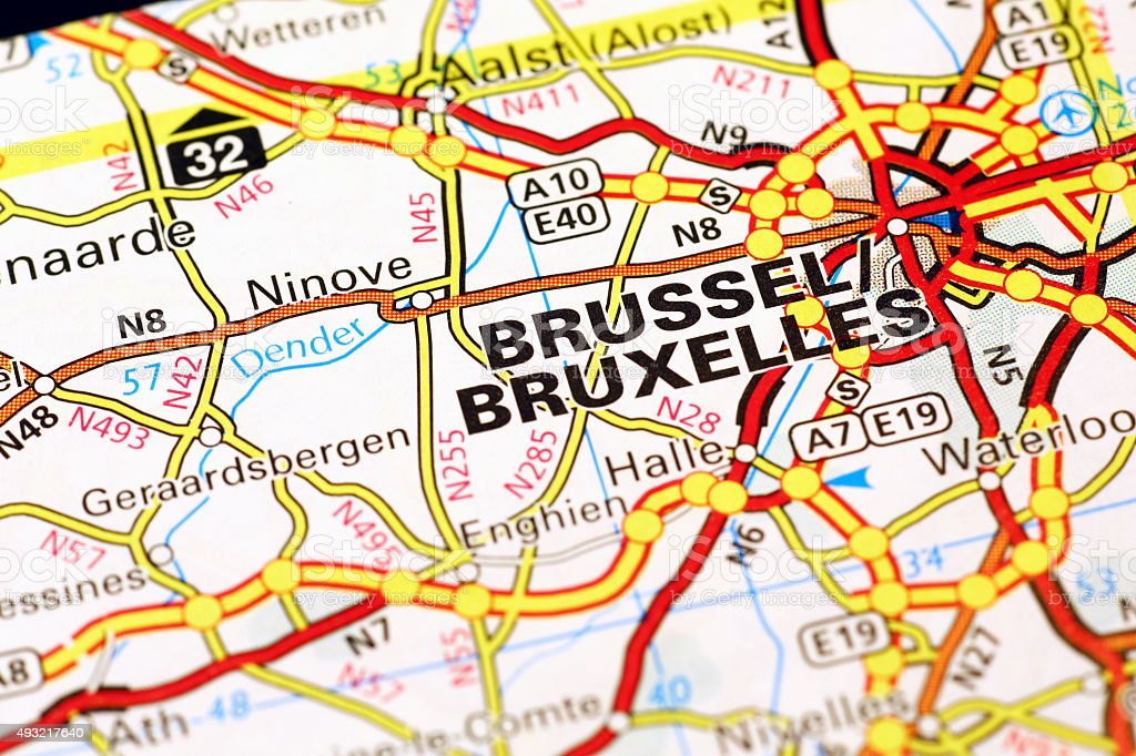 Brussel area on a map stock photo