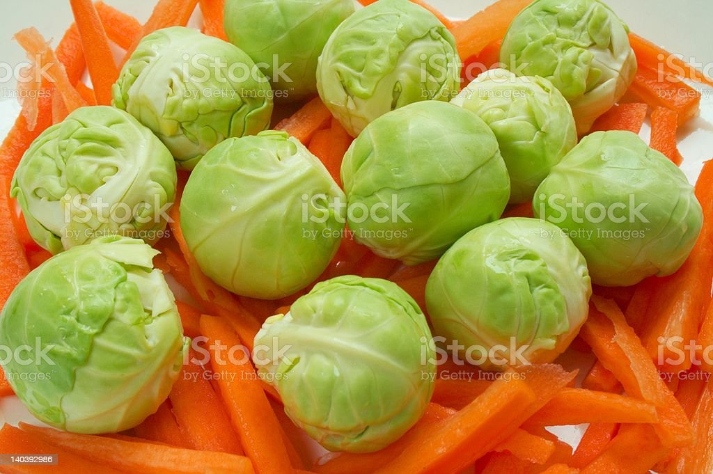 Brussel Sprouts on Carrots royalty-free stock photo