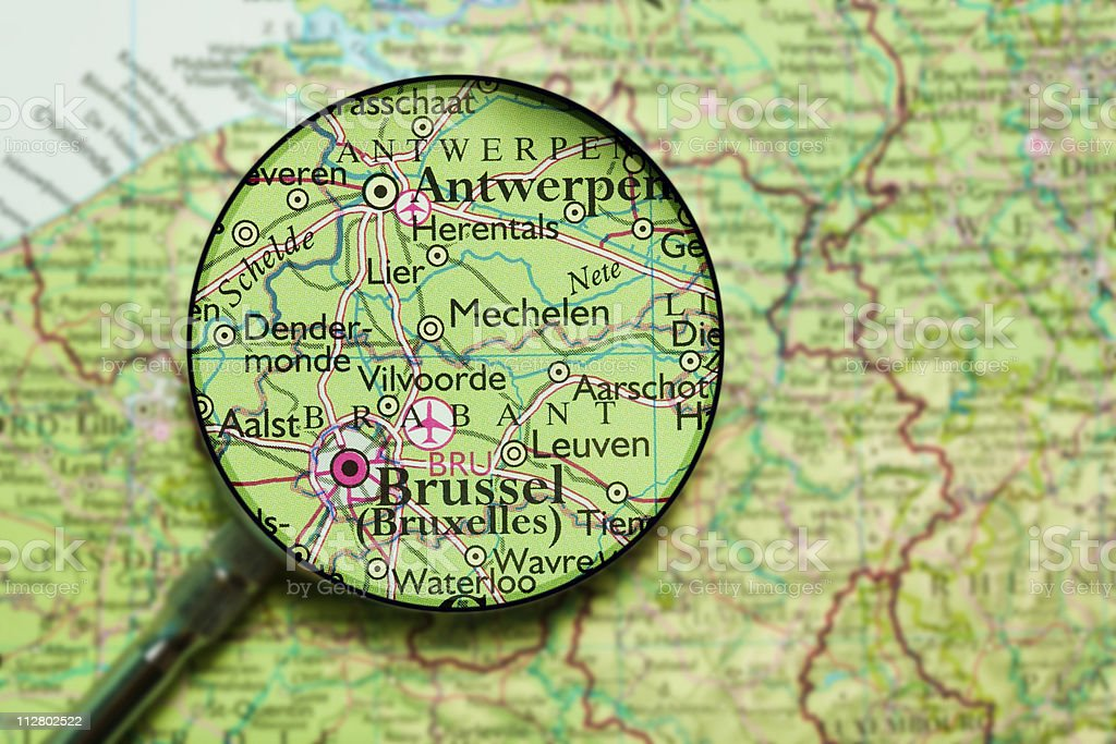 Brussels and Antwerp under loupe stock photo