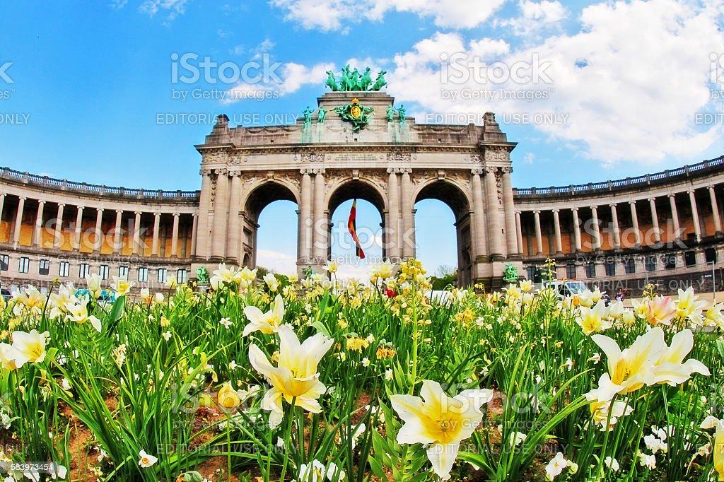 Brussels (Bruxelles), Belgium - May 07, 2016 - Arc de Triomphe stock photo