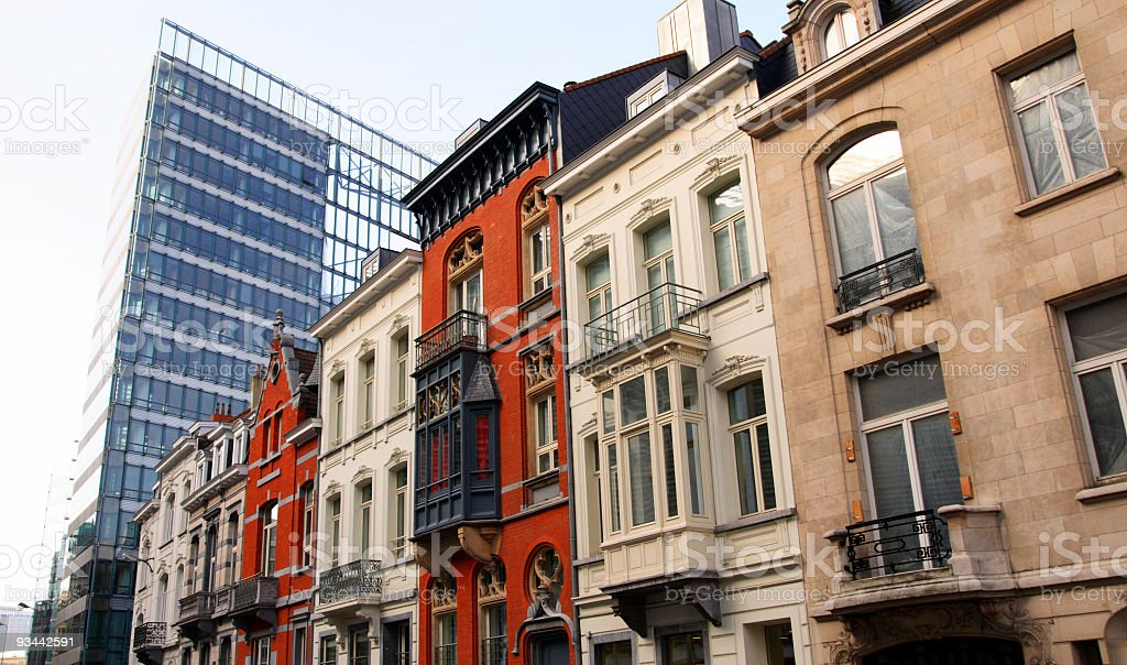 Brussels Buildings Facades, City Urban Scene royalty-free stock photo