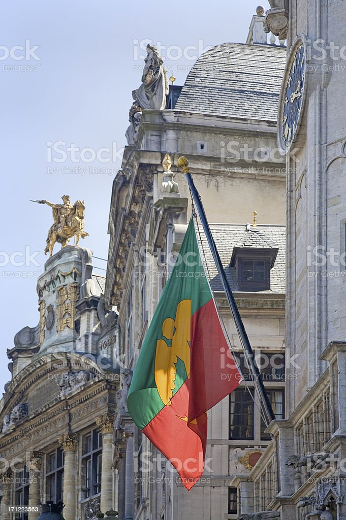 Brussels city flag on Grand Place royalty-free stock photo