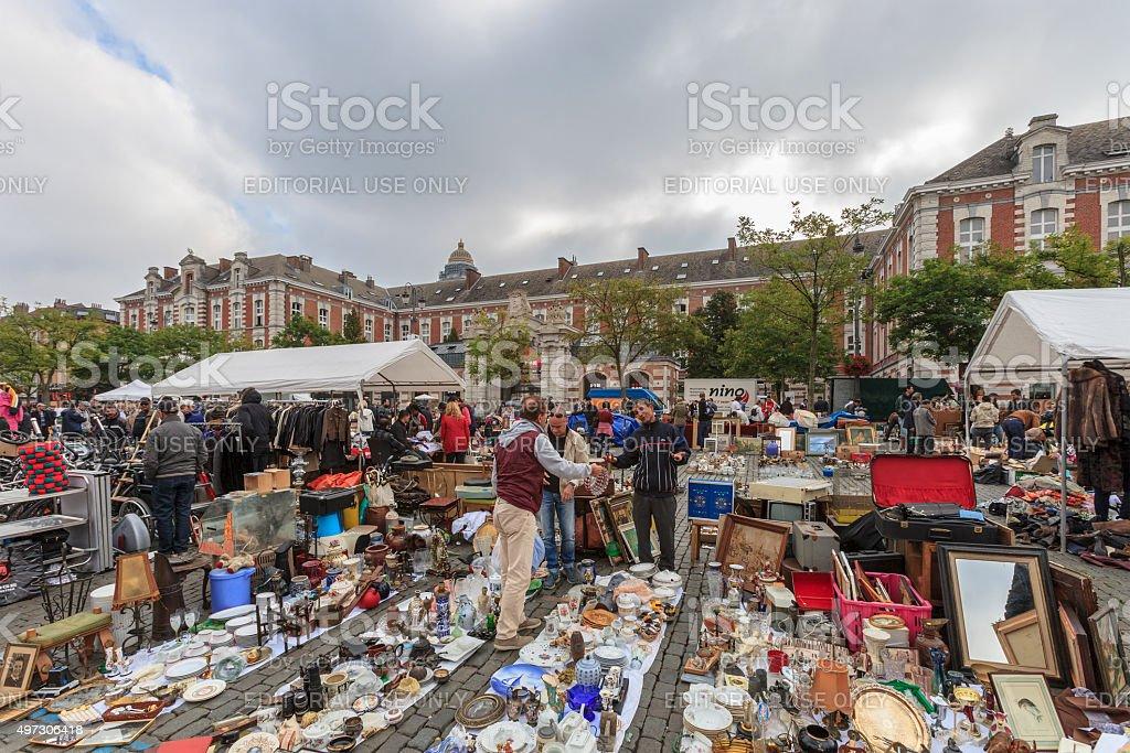 Brussels, Flea Market, Place du Jeu de Balle - Belgium stock photo