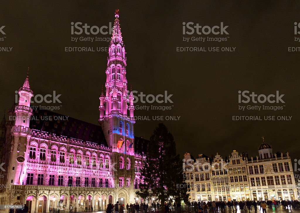 Brussels Grand Place at night stock photo