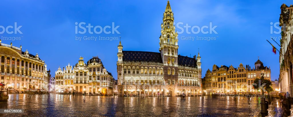 Brussels grand place panorama stock photo