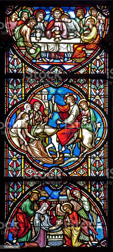 Brussels - Jesus life from windowpane in Saint Michael cathedral royalty-free stock photo