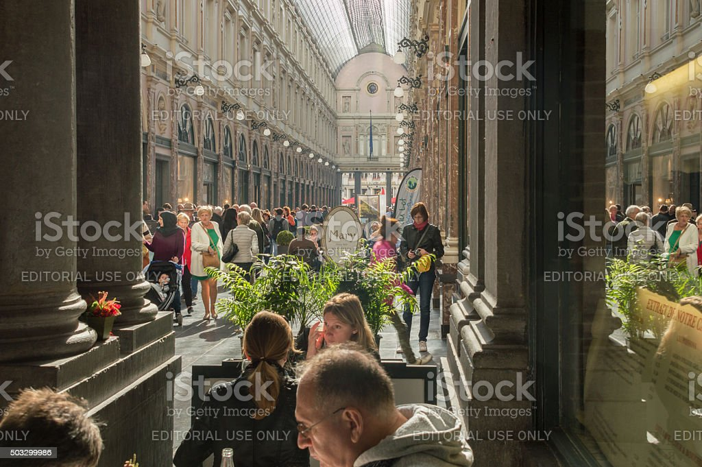 Brussels, Les Galeries Royales Saint-Hubert stock photo