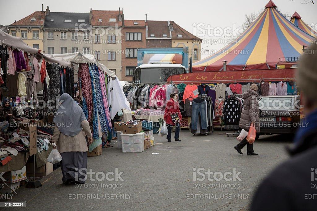 Brussels Maalbeek local market stock photo