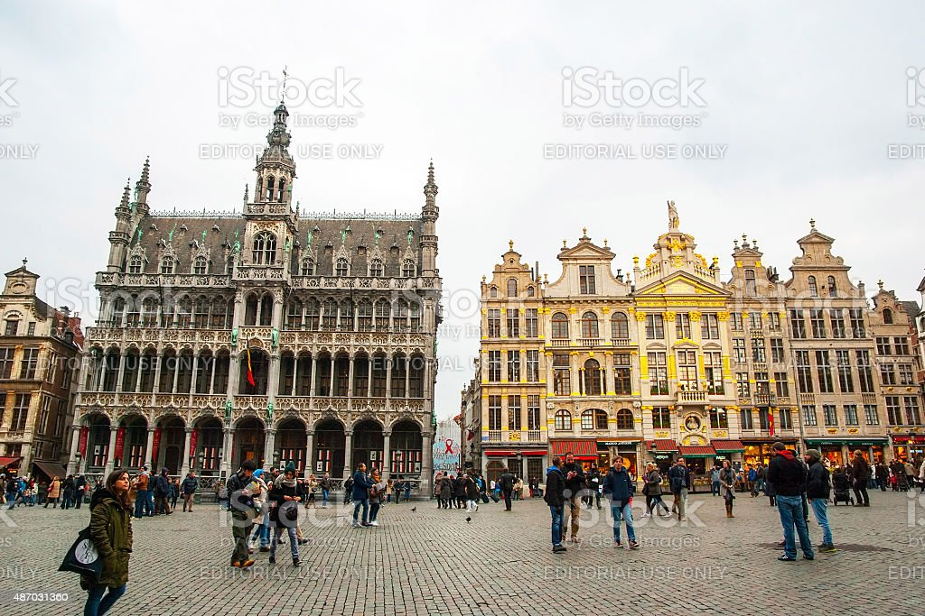 Brussels main square and city hall stock photo
