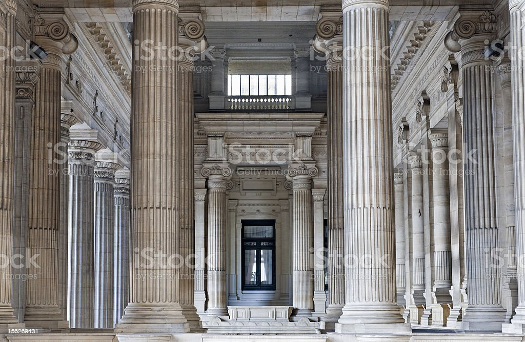 Brussels - Neoclasical vestiubule of Justice palace royalty-free stock photo