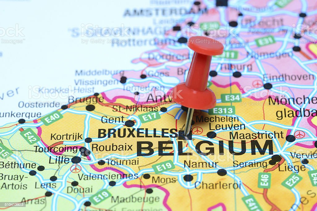 Brussels pinned on a map of europe stock photo