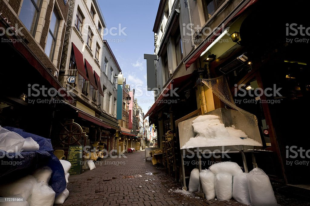Brussels restaurant alley royalty-free stock photo