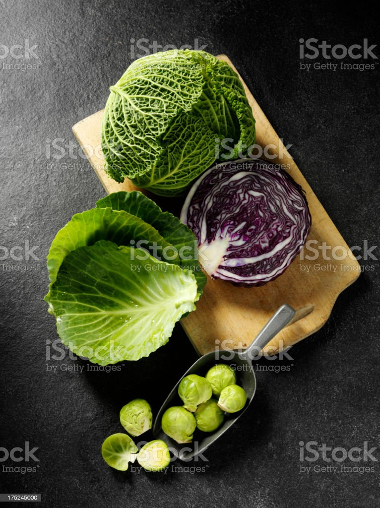 Brussels Sprouts and Cabbages royalty-free stock photo