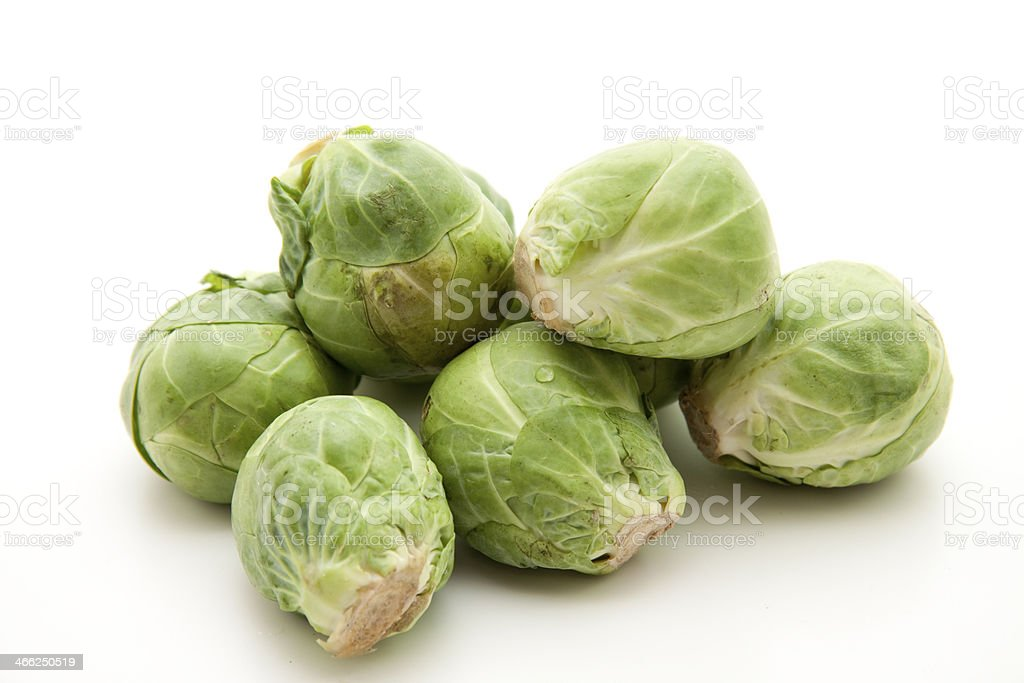 Brussels sprouts freshly harvested royalty-free stock photo