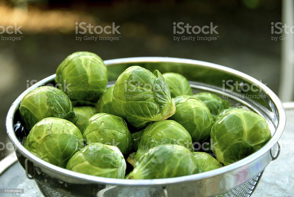 Brussels Sprouts, Healthy Food, Vegetables in Colander stock photo