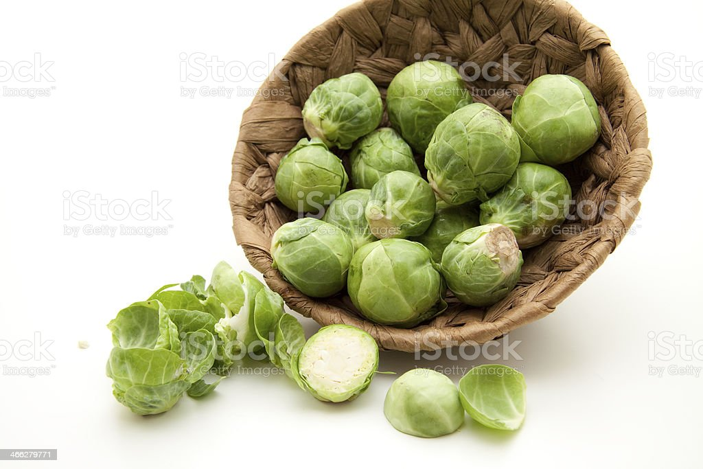 Brussels sprouts in the basket royalty-free stock photo
