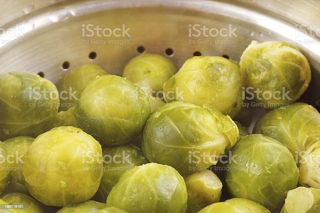 Brussels sprouts on steam cooker royalty-free stock photo