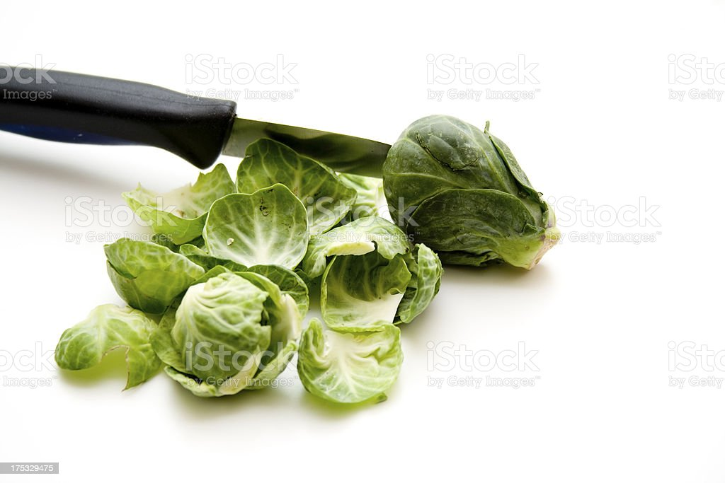Brussels sprouts with knife royalty-free stock photo