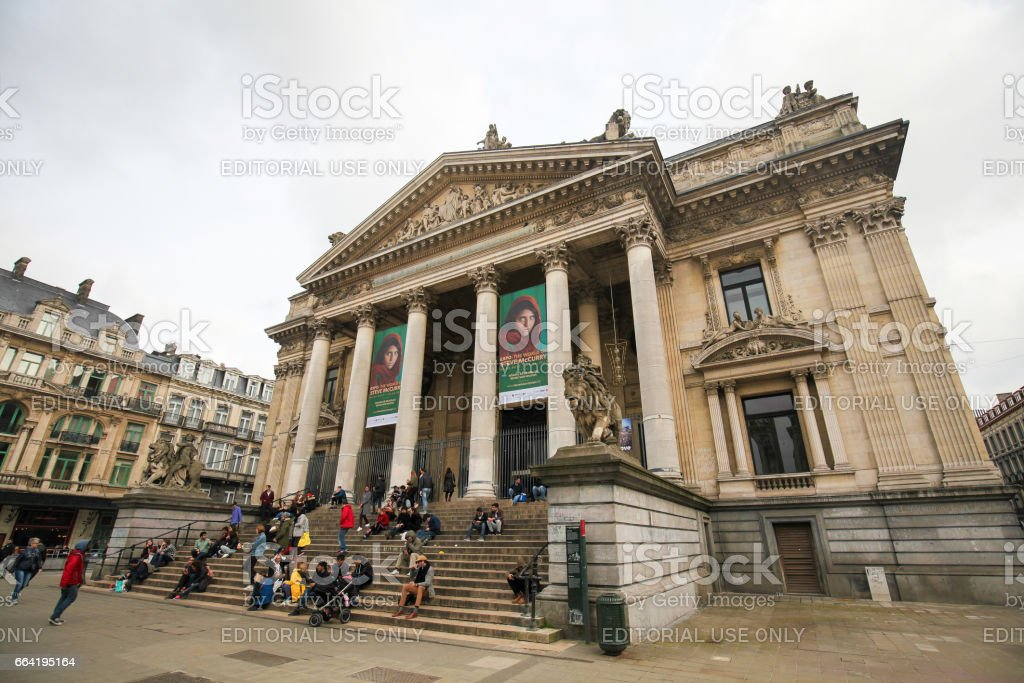Brussels Stock Exchange or Bourse in Brussels, Belgium stock photo
