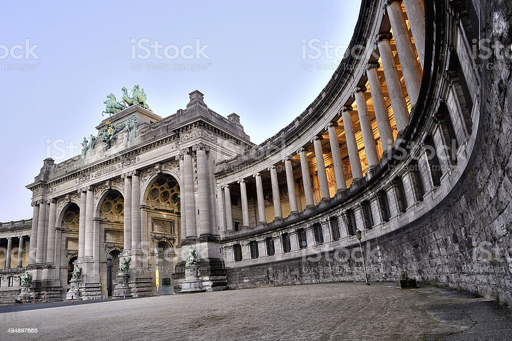 Brussels Triumphal Arch in Cinquantenaire Parc , Jubelpark stock photo