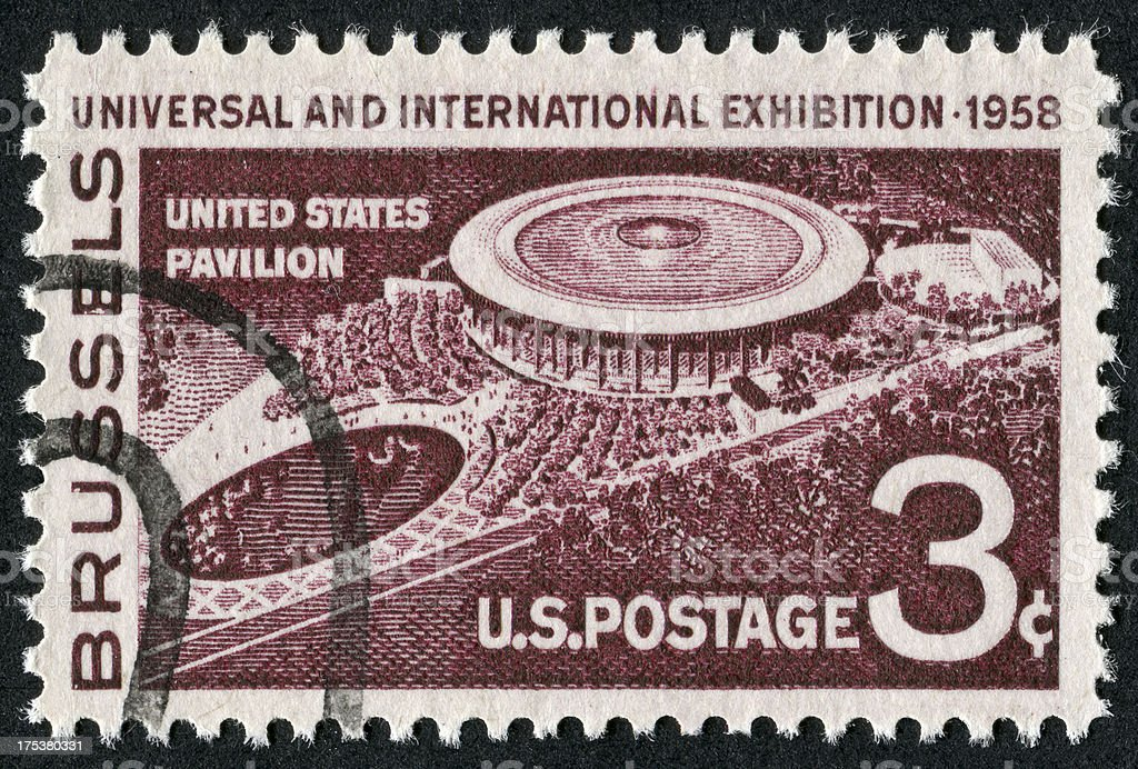 Brussels Universal And International Exhibition Stamp stock photo