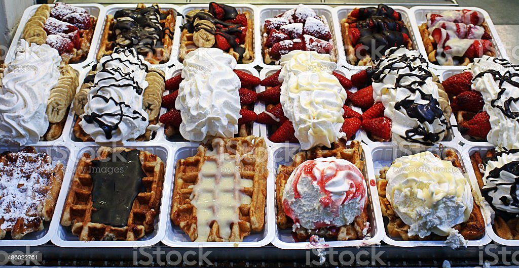 Brussels, waffles from belgium stock photo