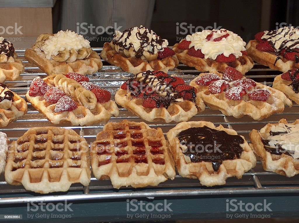 brussels waffles from belgium stock photo