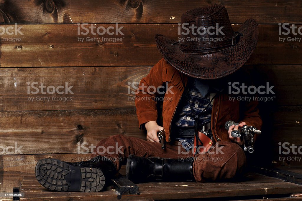 brutal little cowboy royalty-free stock photo