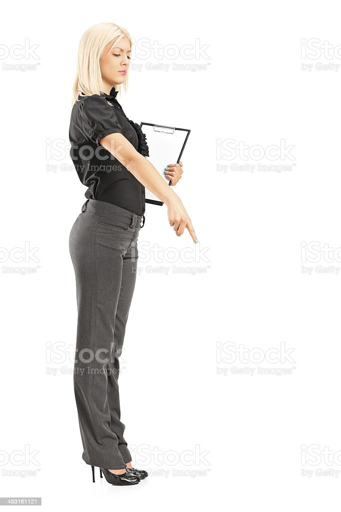 Brutal woman manager gesturing with her finger royalty-free stock photo