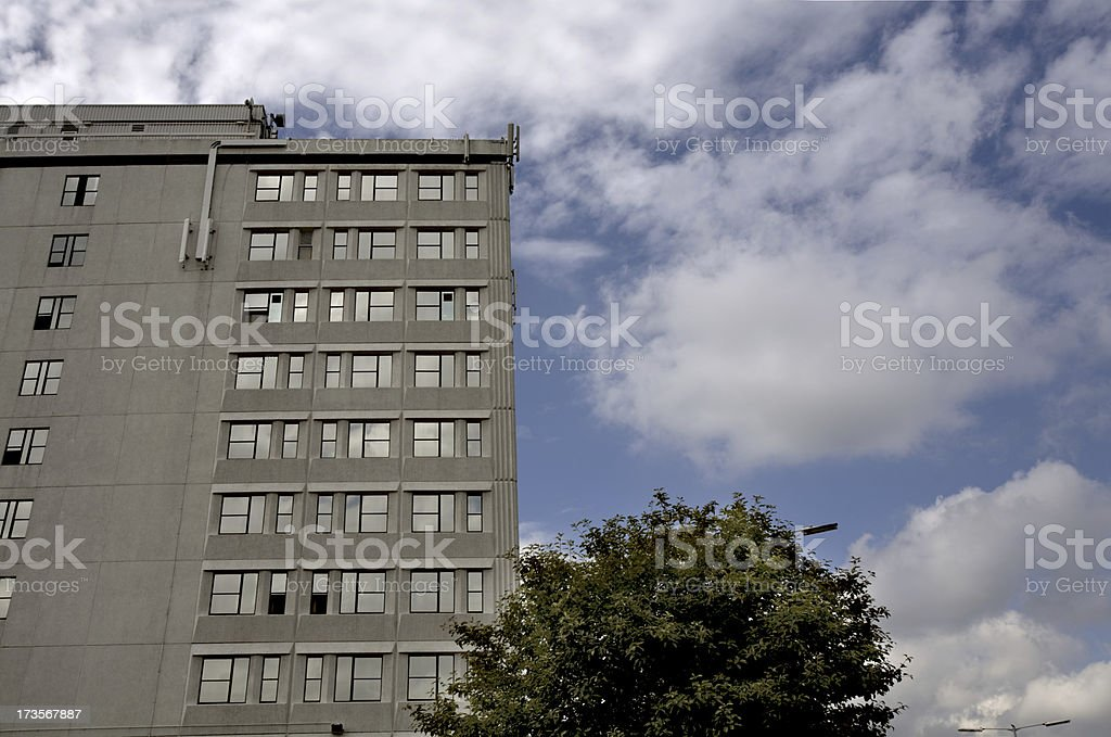 Brutalist 1970's Office Block-See lightbox below for other architectural exteriors stock photo