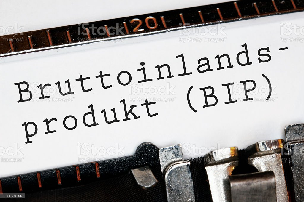 'Bruttoinlandsprodukt' typed on an old typewriter stock photo