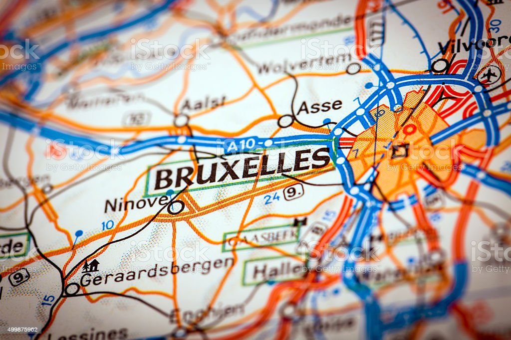 Bruxelles City on a Road Map stock photo