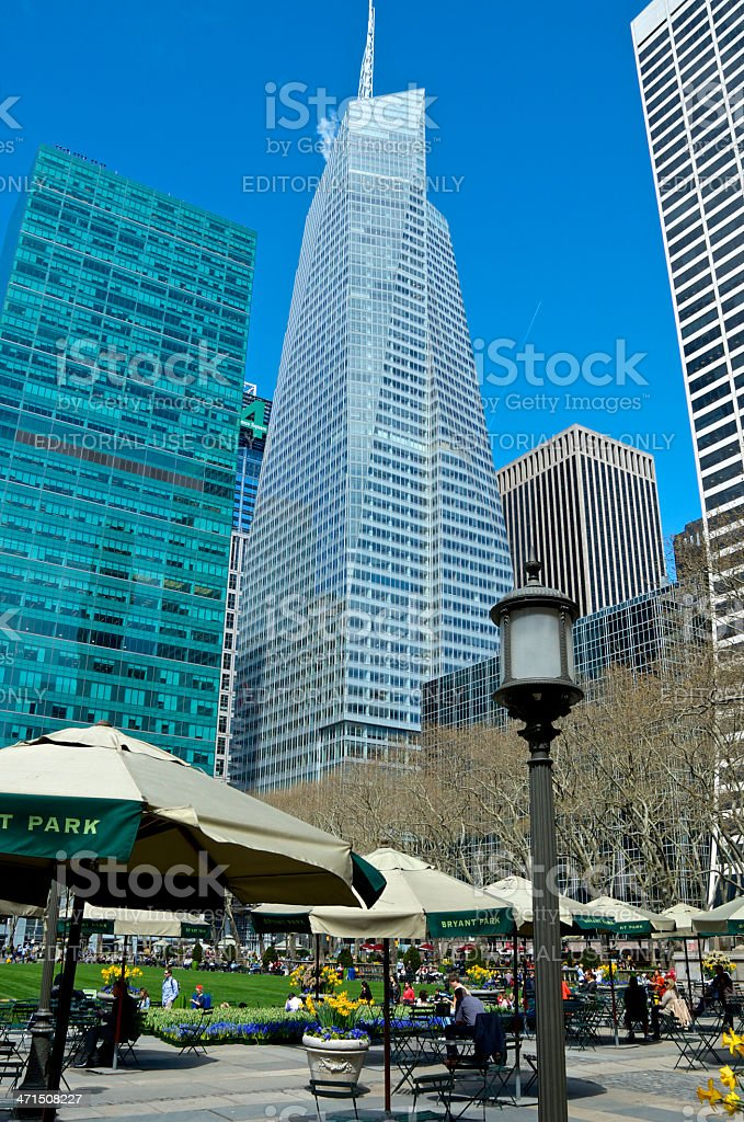 Bryant Park Cityscape, BOA Tower, Midtown Manhattan, New York City royalty-free stock photo