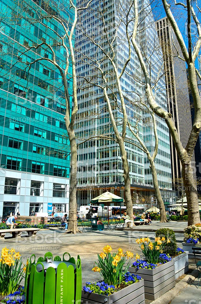Bryant Park Cityscape, BOA Tower, Midtown Manhattan, New York City stock photo