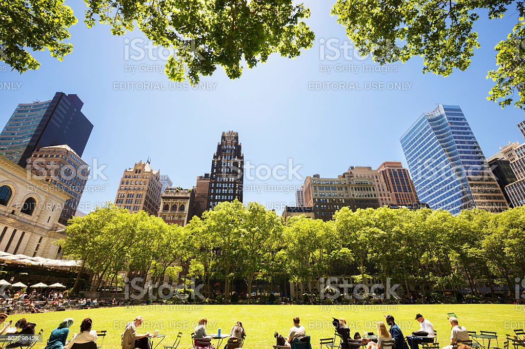 Bryant Park in New York City, USA stock photo