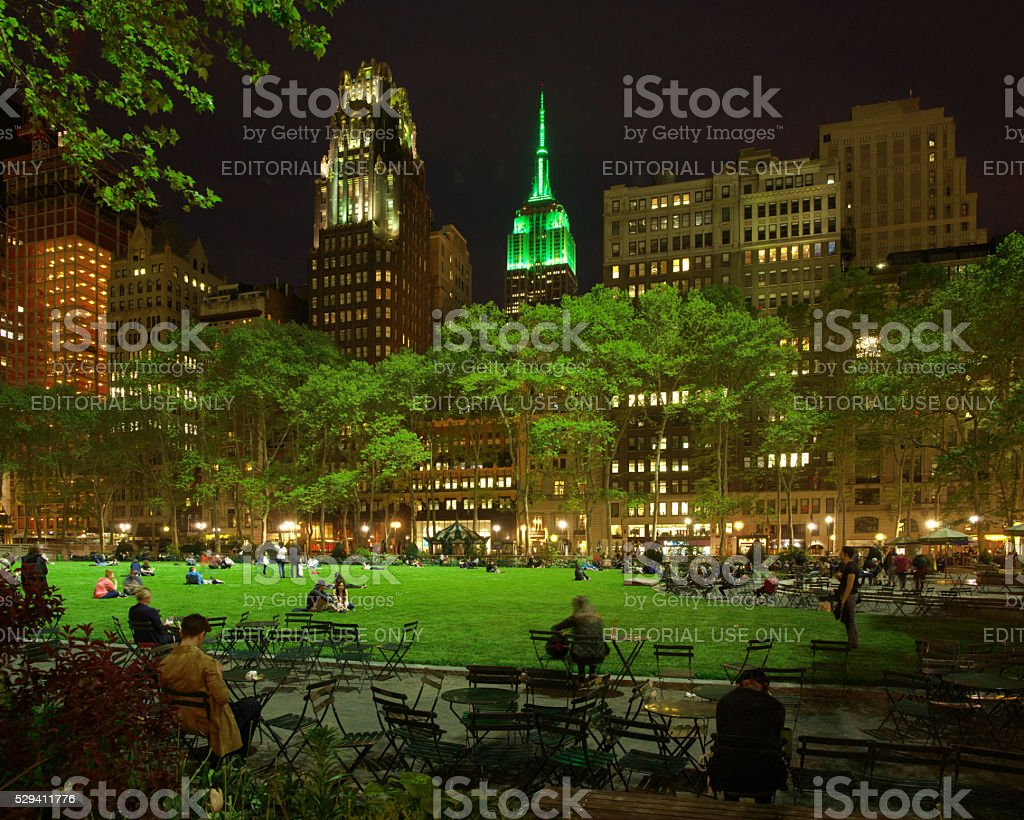 Bryant Park Lawn Open Night with Empire State in Green stock photo