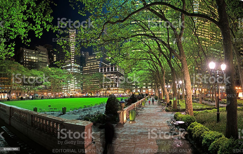Bryant Park Lights up on a Spring Night stock photo