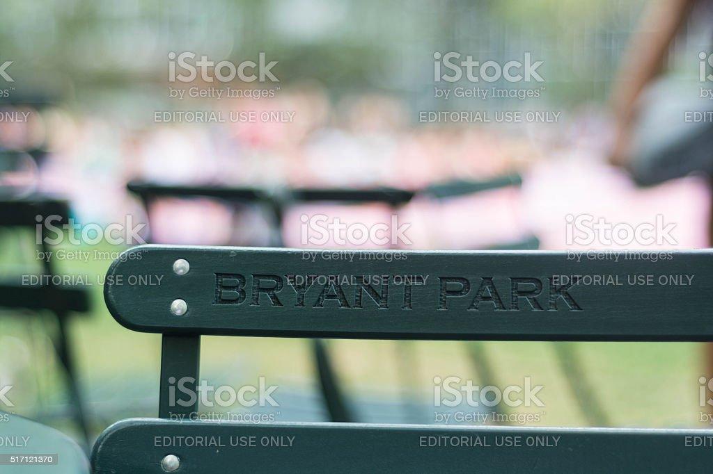 Bryant Park Logo on Chair stock photo