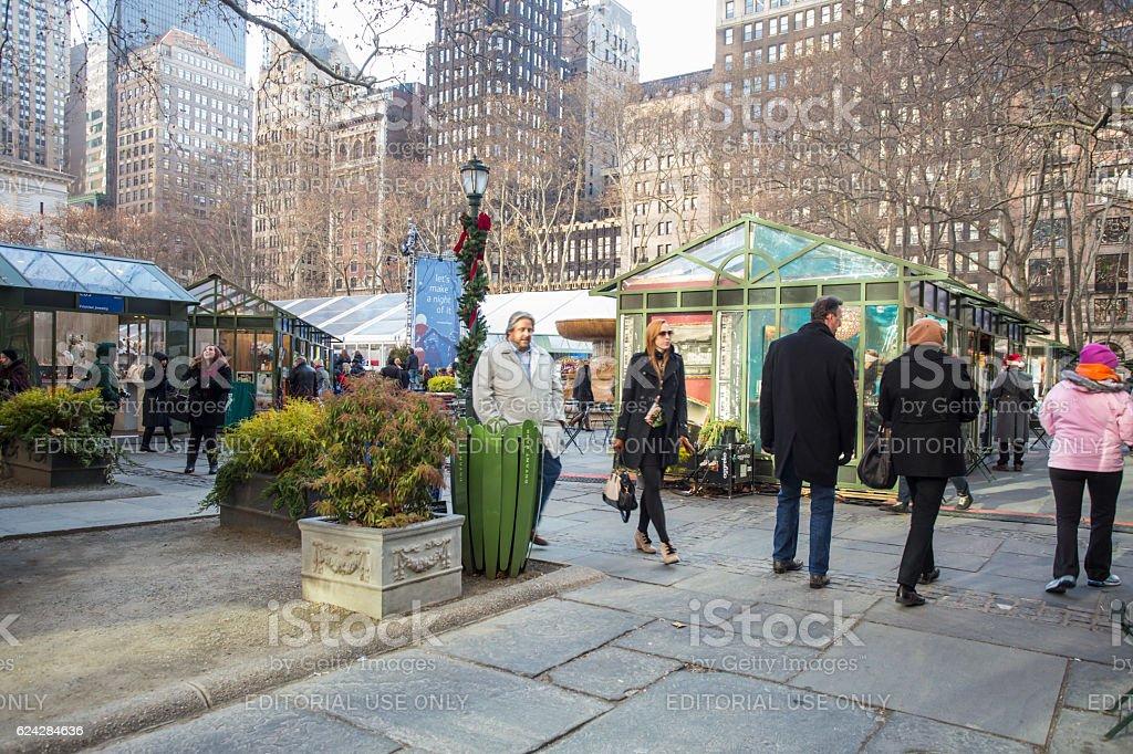 Bryant Park NYC Christmas stock photo
