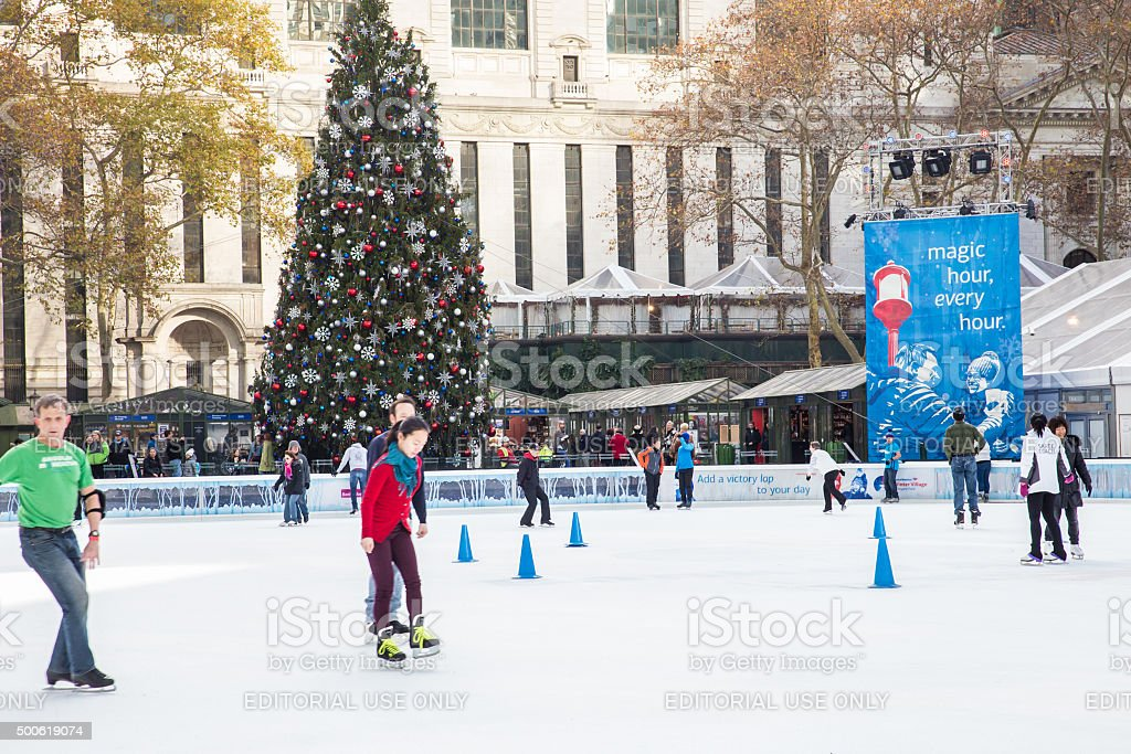 Bryant Park NYC Skating stock photo