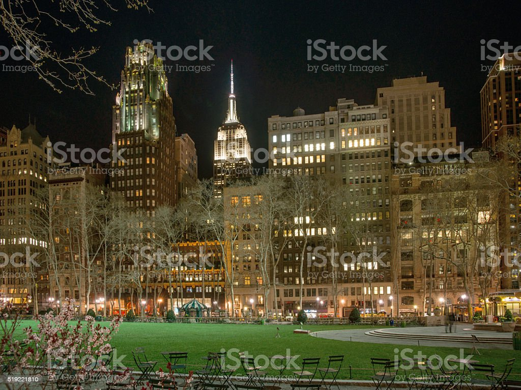 Bryant Park on a Sunny Early Spring Evening stock photo