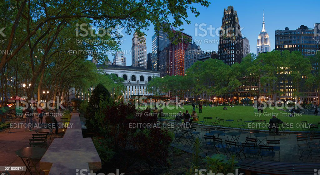 Bryant Park Panaramic at Night with Empire State lit up stock photo