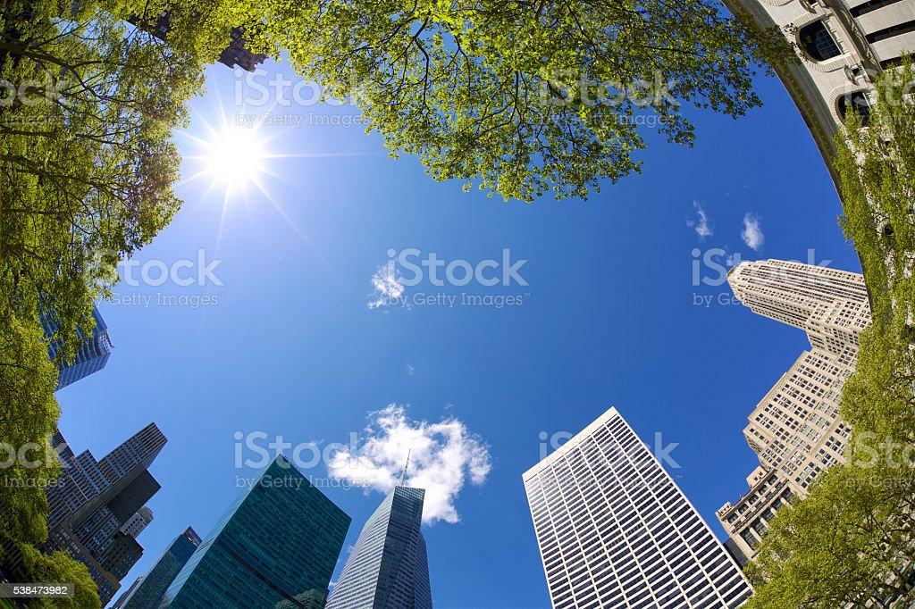 Bryant Park Skyscrapers stock photo