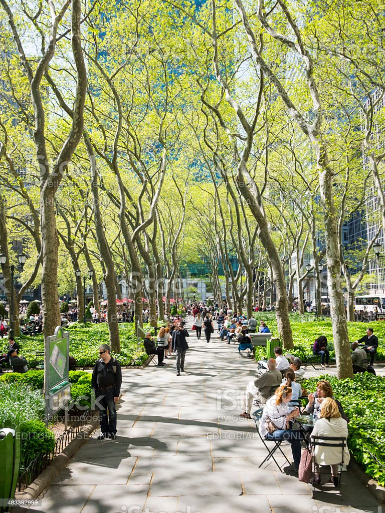 Bryant Park Walkway Early Spring Manhattan stock photo