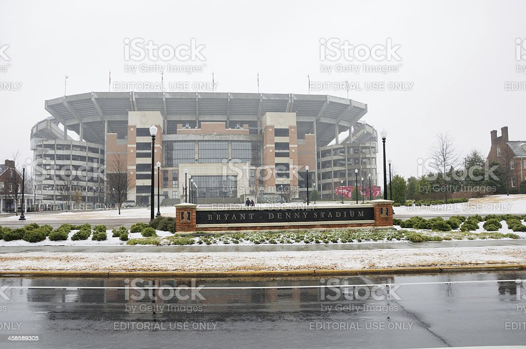 Bryant-Denny Stadium on snowy day stock photo