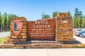 Bryce canyon entrance sign,Utah,usa.