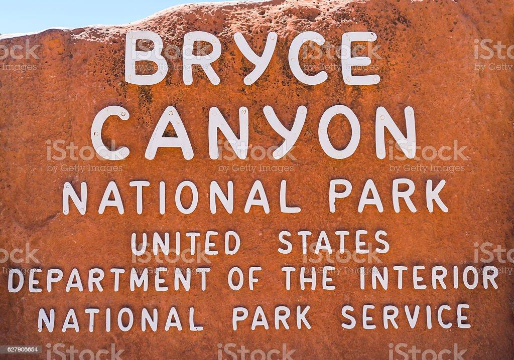 Bryce canyon entrance sign,Utah,usa. stock photo